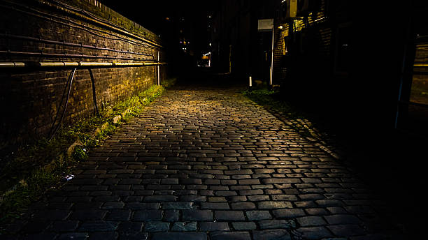 Old Cobbled Pavement Beside Grand Union Canal, London stock photo