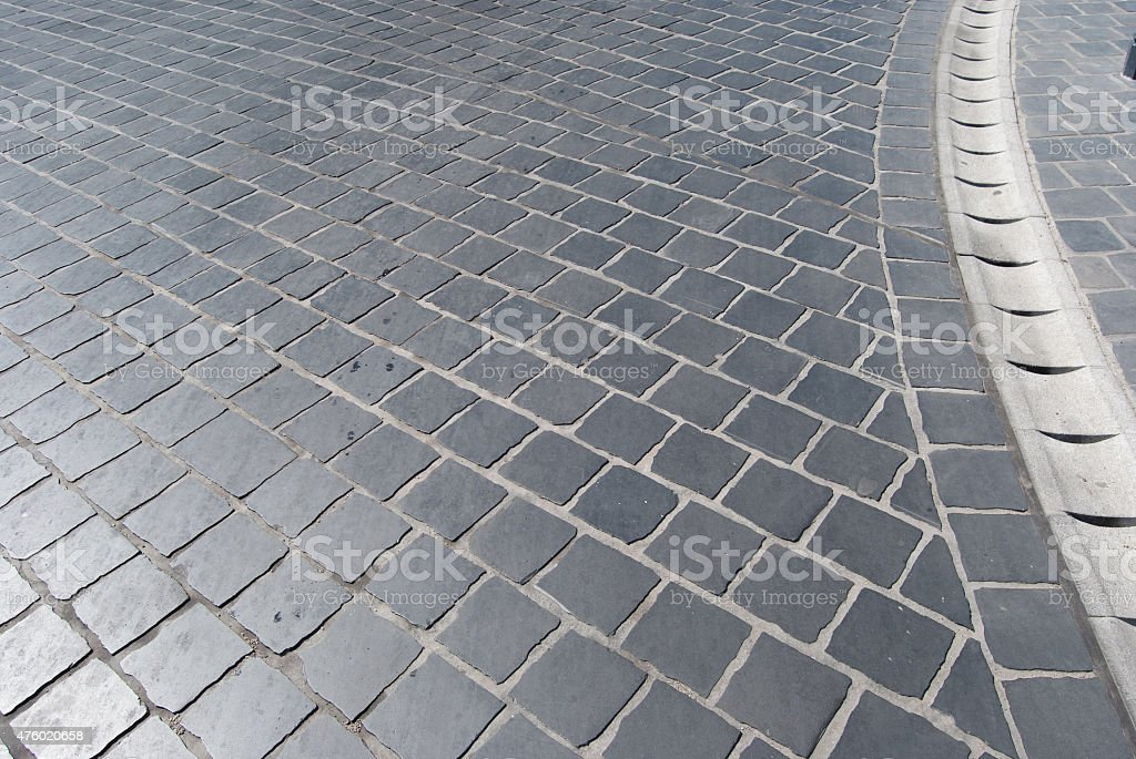 Old cobbled road stock photo