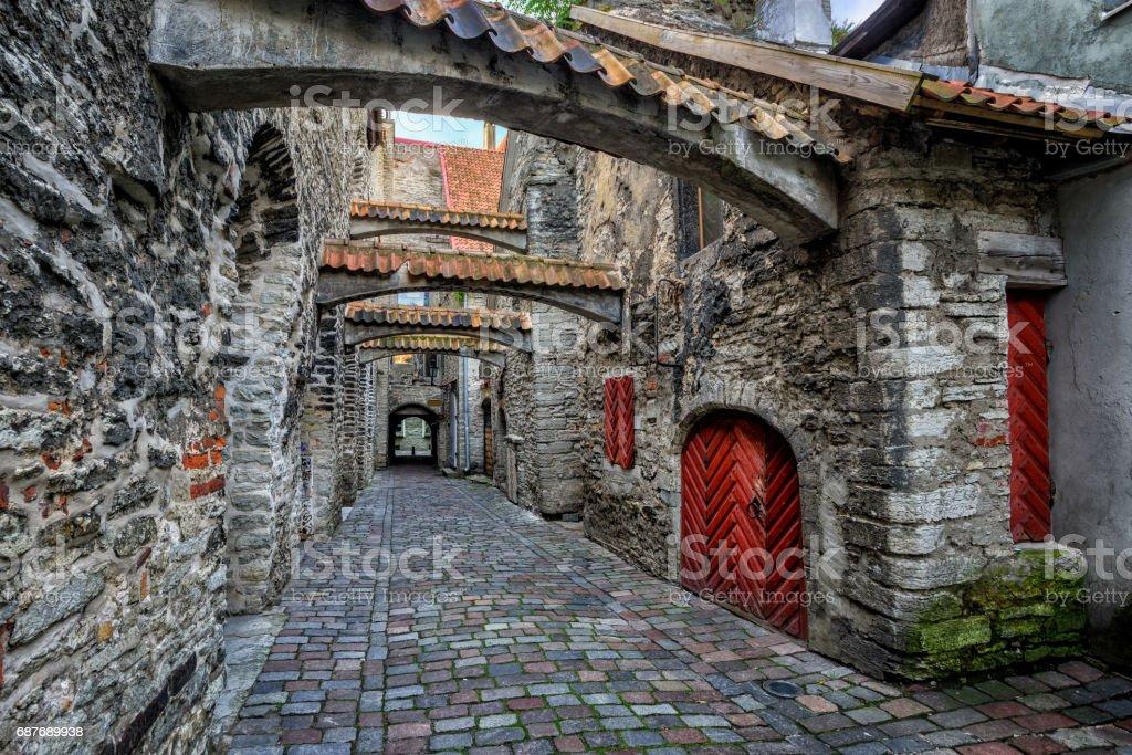 Old cobbled street in old town of Tallinn, Estonia stock photo
