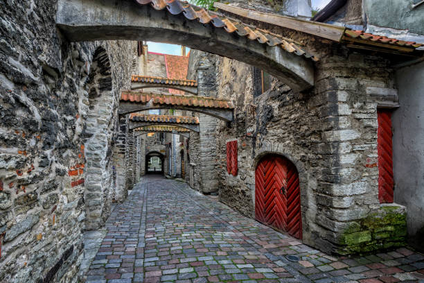 old cobbled street in old town of tallinn, estonia - altstadt stock-fotos und bilder