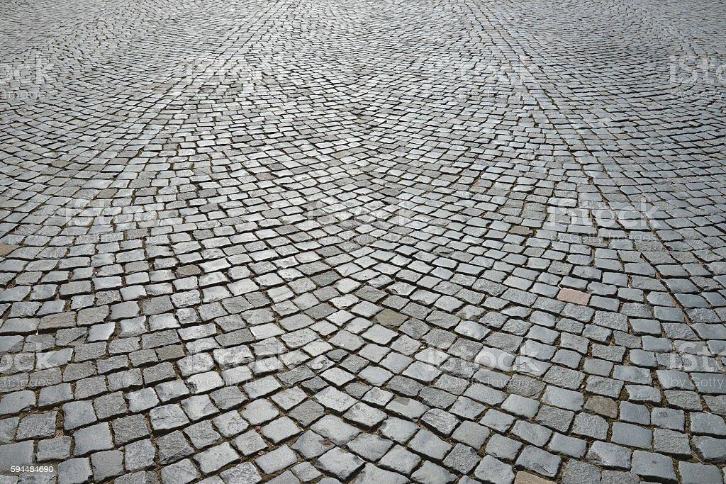 Old cobblestone pavement. stock photo