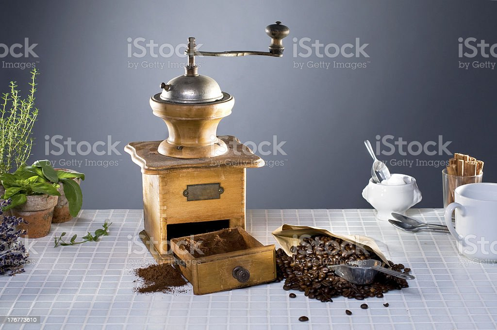 old coffee grinder on kitchen royalty-free stock photo