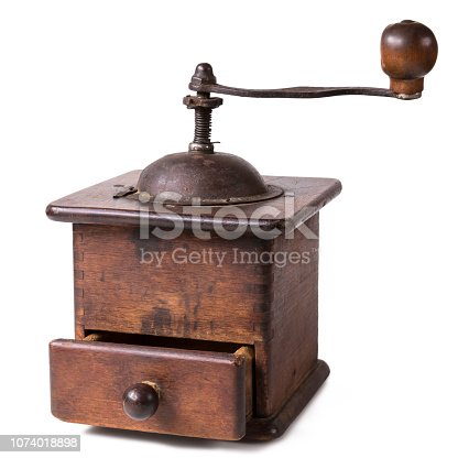 istock Old Coffee Grinder With Open Drawer 1074018898
