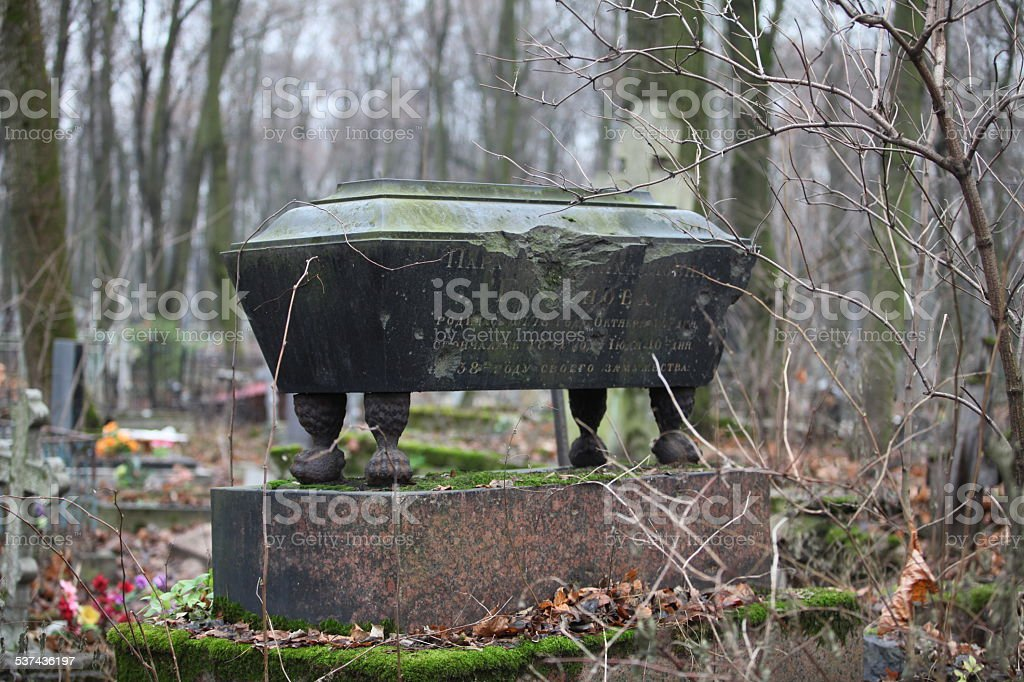 old coffin stock photo