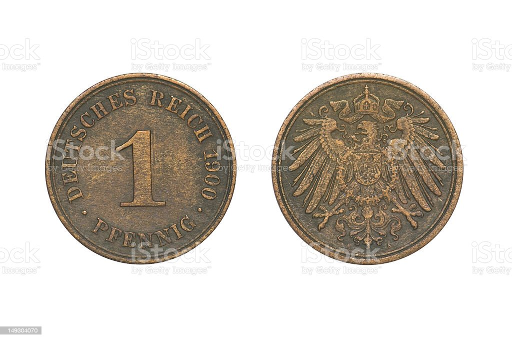 Old Coin dated 1900, One Pfennig stock photo