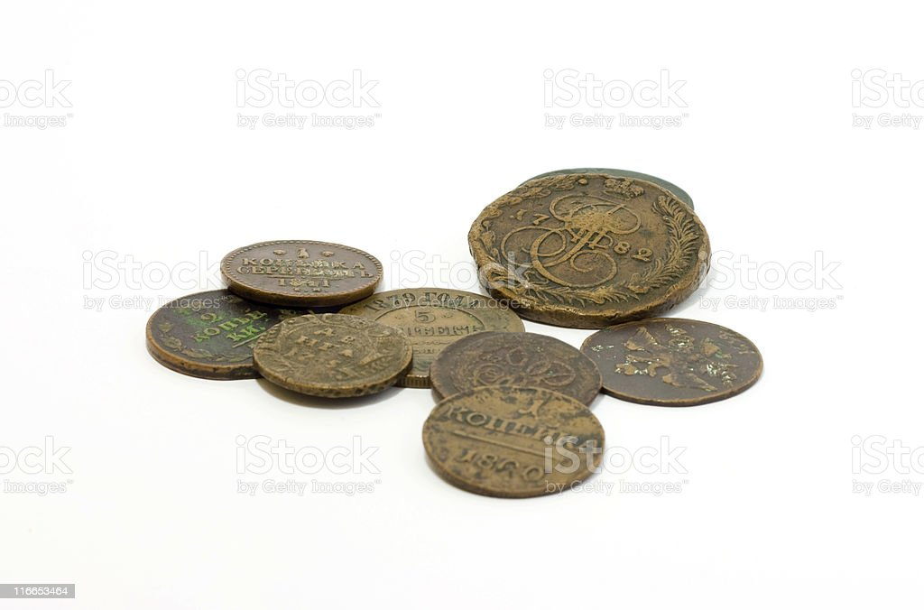 Old coins of Russian Empire stock photo