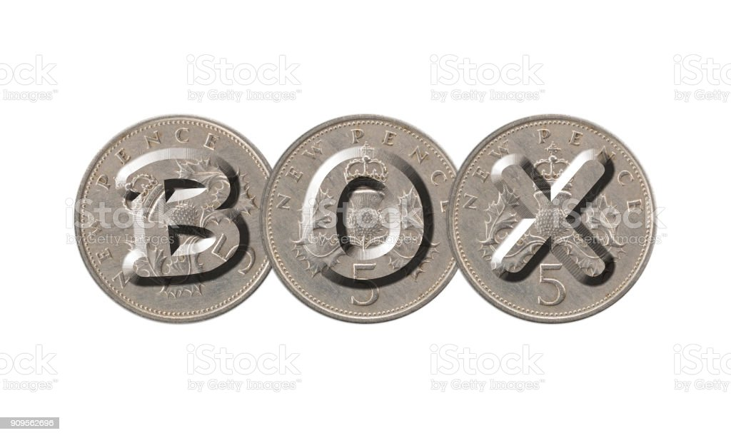BOX – Old coins on white background stock photo