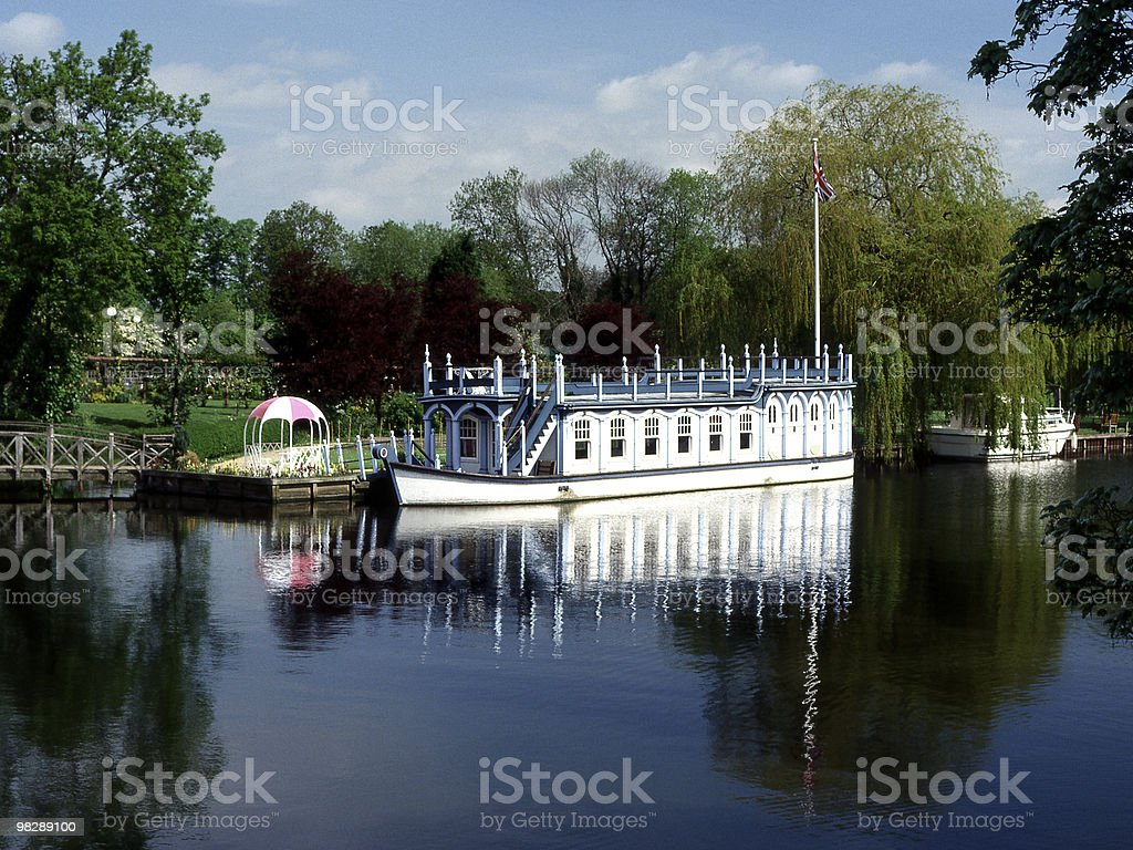 Old College Barge at Streatley, Berkshire, England royalty-free stock photo