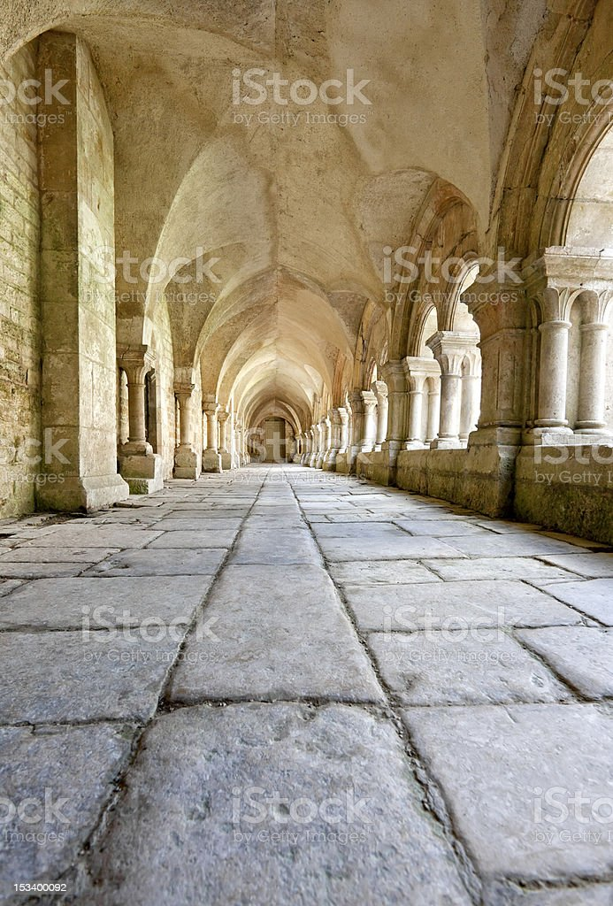 Old colonnaded closter, Abbaye de Fontenay, Burgundy, France stock photo