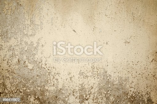 Beige grunge cracked painted old wall texture, concrete cement background, full frame