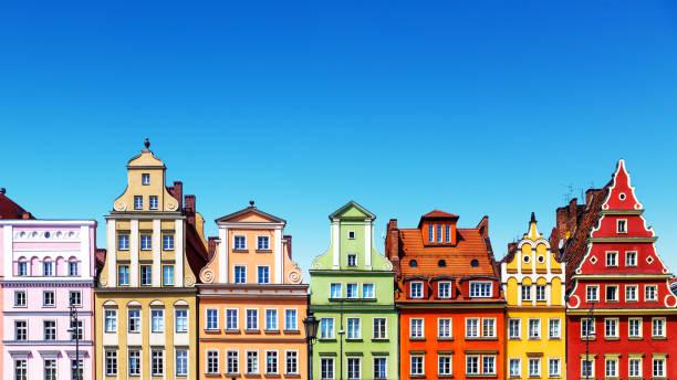 Alte Farbe Häuser in Wroclaw, Polen – Foto