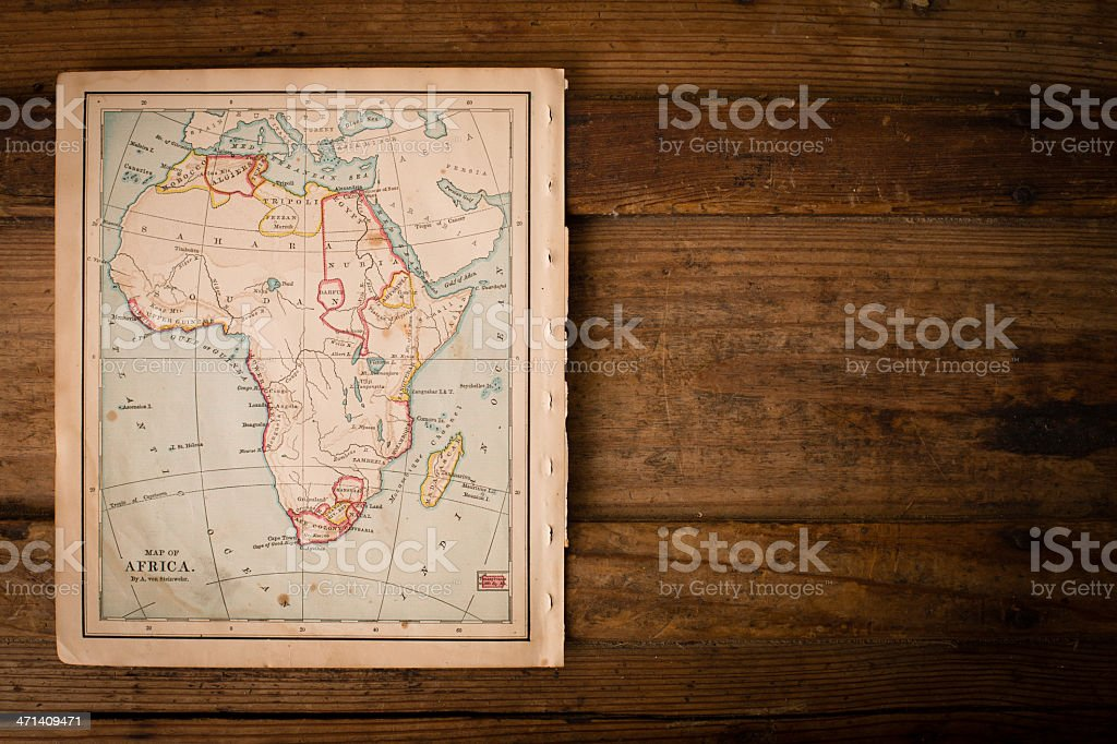 Map Of Africa From Space.Old Color Map Of Africa From 1800s With Copy Space Stock Photo