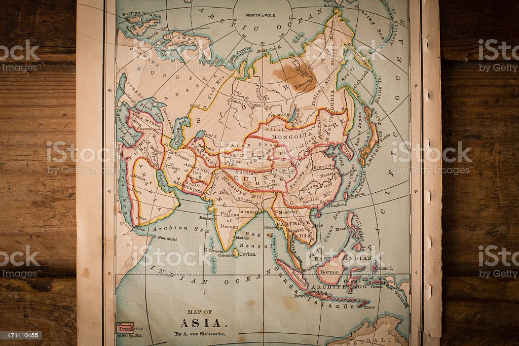 Old, Color Map of Asia, From 1800's, On Wood Background stock photo