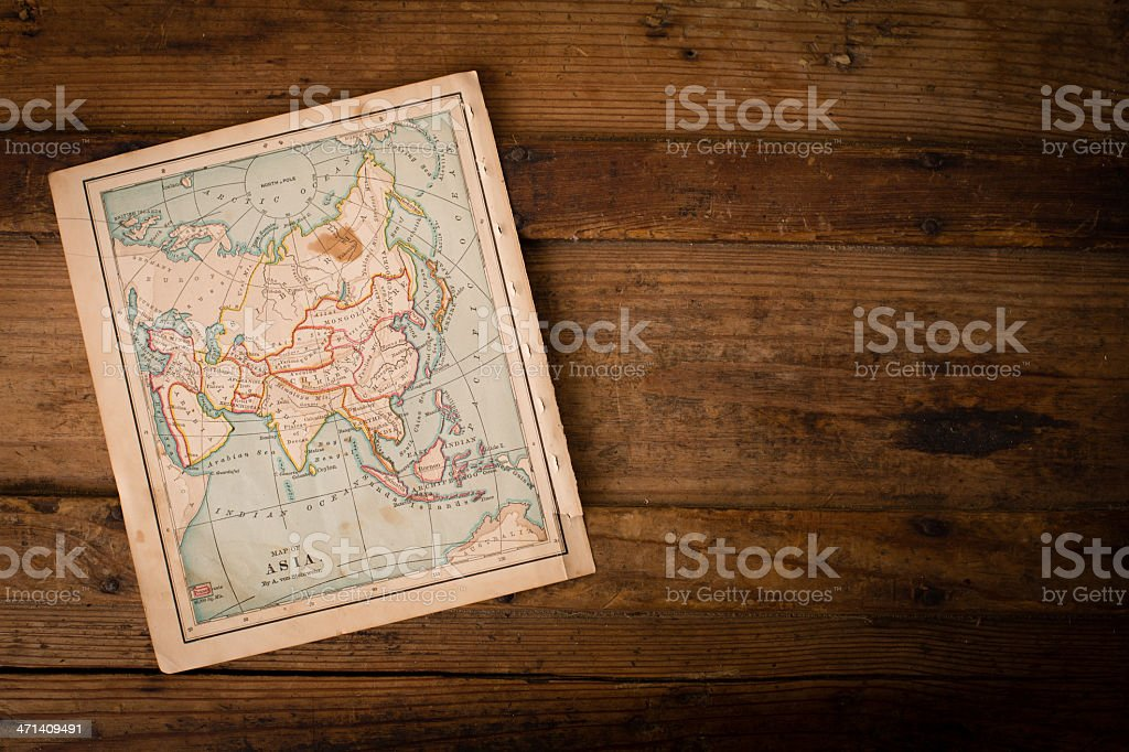 Old, Color Map of Asia, From 1800's, With Copy Space stock photo