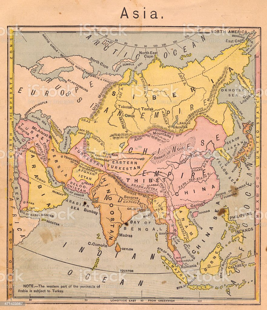1867, Old, Color Map of Asia stock photo
