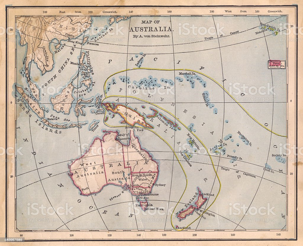 Old Color Map of Australia, From 1800's stock photo