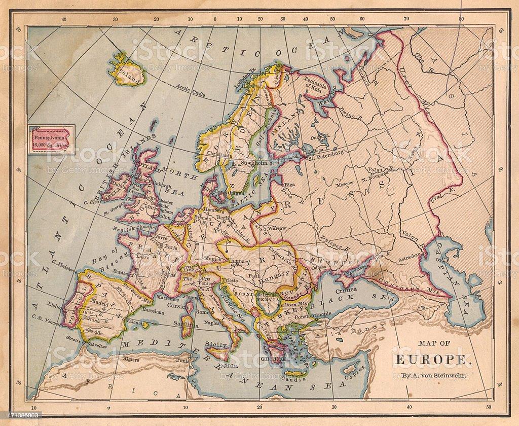 Cartina Europa 1800.Vecchia Mappa Di Europa Colore Dal 1800 Fotografie Stock E