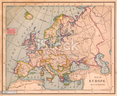Color image of an old color map of Europe, from the 1800's.