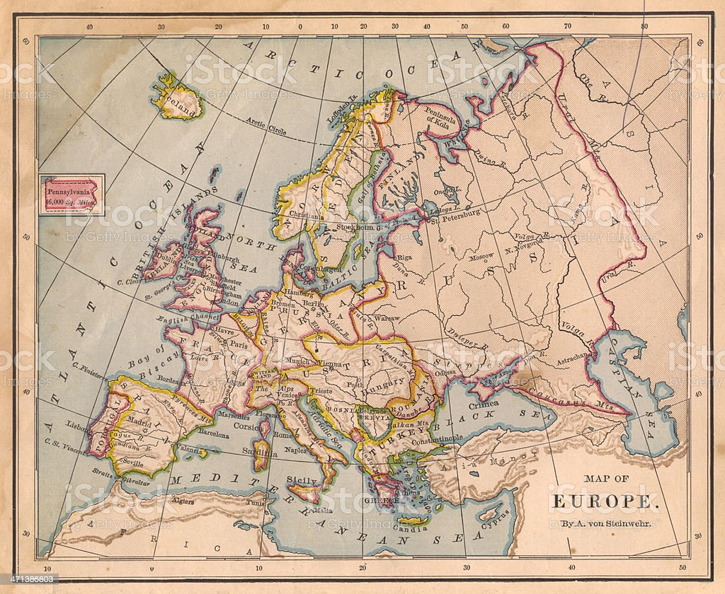 Old Color Map of Europe, From 1800's stock photo
