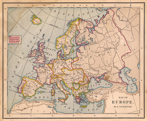 old color map of europe, from 1800's - europe map stock photos and pictures