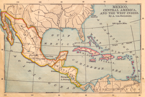 Color image of  old color map of Mexico, Central America, and the West Indies, from the 1800's.