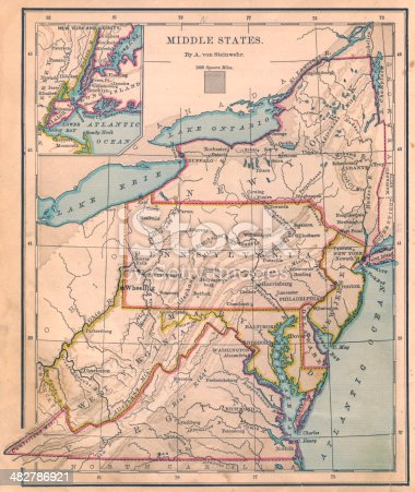 Color image of an old map of the Middle (United) States.