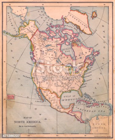 171057063 istock photo Old, Color Map of North America, From 1870 471386207