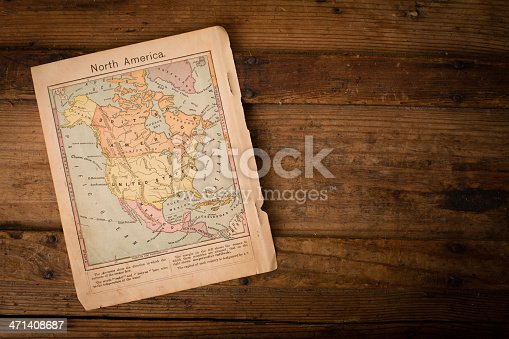 171057063 istock photo Old, Color Map of North America, 1867, With Copy Space 471408687