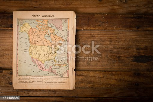 171057063 istock photo Old, Color Map of North America, 1867, With Copy Space 471408689