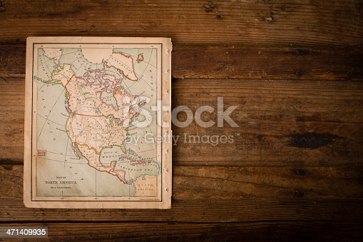 171057063 istock photo Old, Color Map of North America, 1870, With Copy Space 471409935