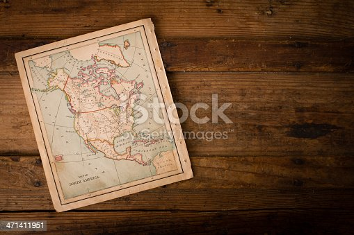 171057063 istock photo Old, Color Map of North America,1870, With Copy Space 471411951