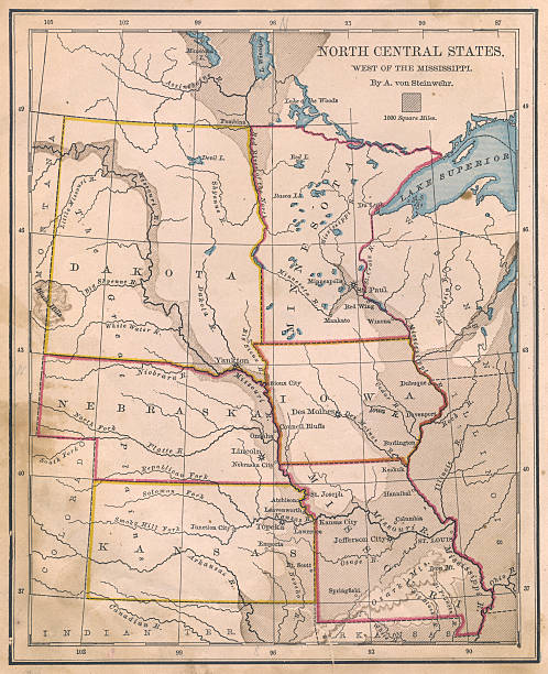 North Central Us Map.Old Color Map Of North Central States From 1800s Stock Photo More