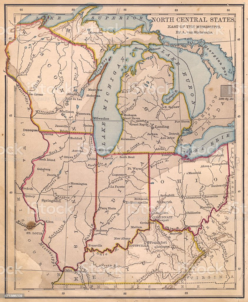 Old Color Map Of North Central States From S Stock Photo - Central united states map