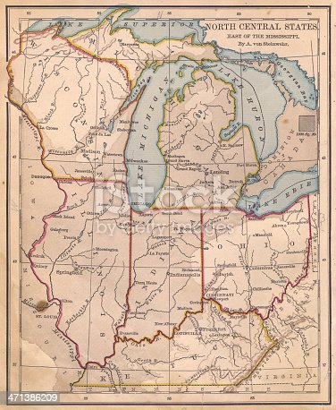 istock Old, Color Map of North Central (United) States, From 1800's 471386209