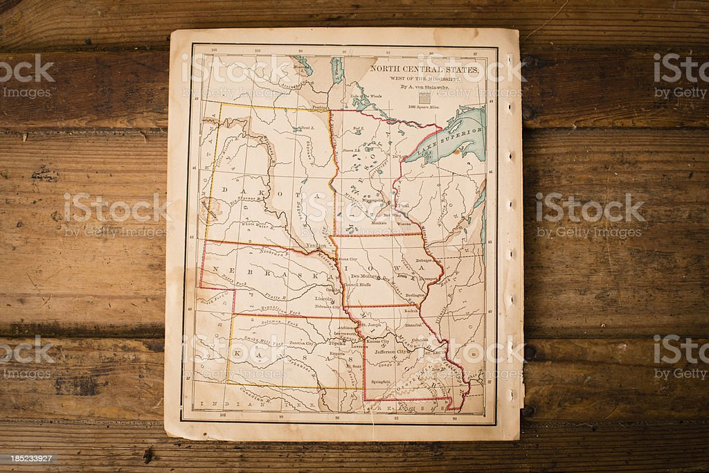 Old, Color Map of North Central States, Sitting on  Trunk stock photo