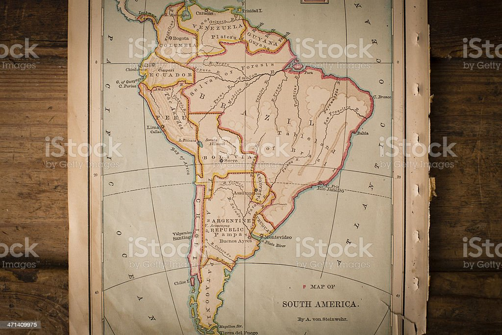 Old Color Map of South America, From 1800's, on Wood stock photo