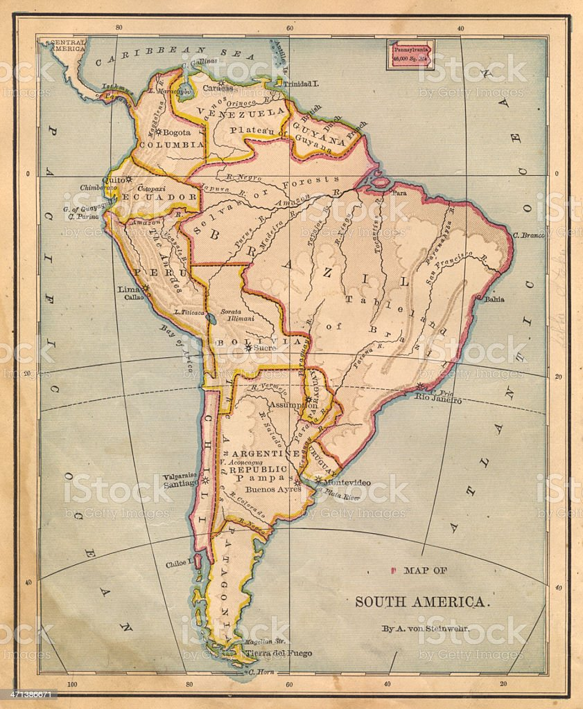 Old Color Map of South America, From 1800's stock photo
