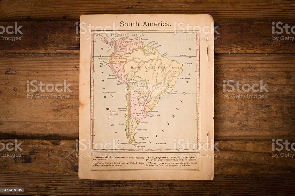 1867, Old Color Map of South America, on Wood Background stock photo