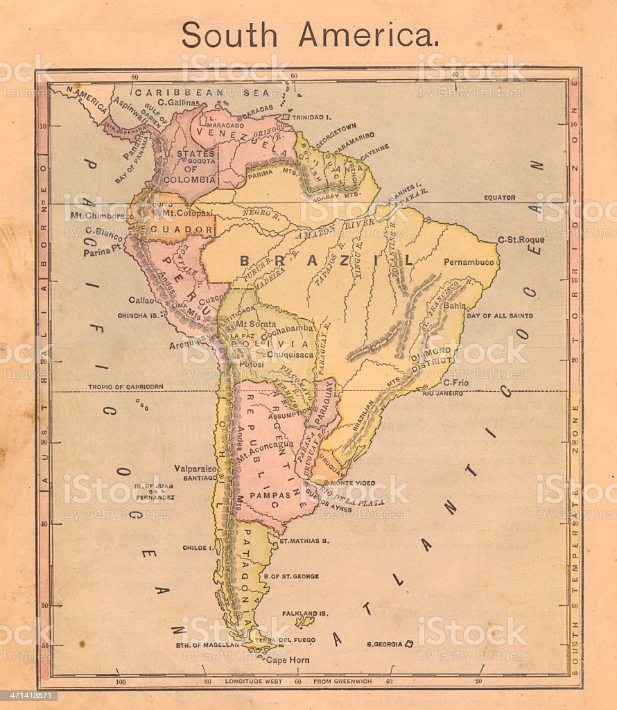 1867, Old Color Map of South America stock photo