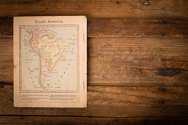 1867, Old Color Map of South America, With Copy Space stock photo