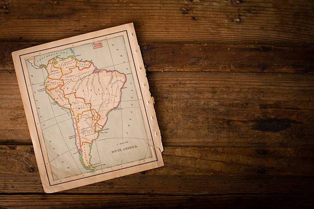 Old Color Map of South America,1800's, With Copy Space stock photo