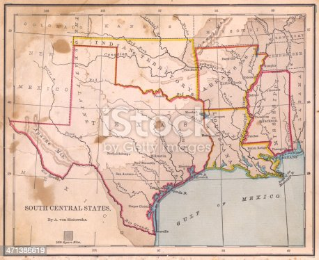 Color image of an old map of South Central (United) States, from 1800's.