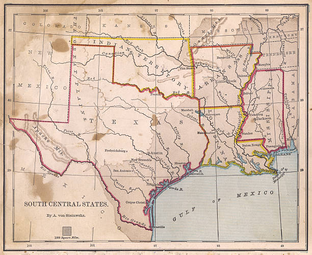 Old, Color Map of South Central States, From 1800's stock photo