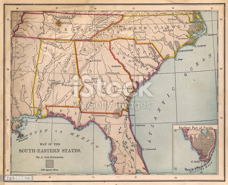 istock Old, Color Map of South Eastern States, From 1800's 471386623