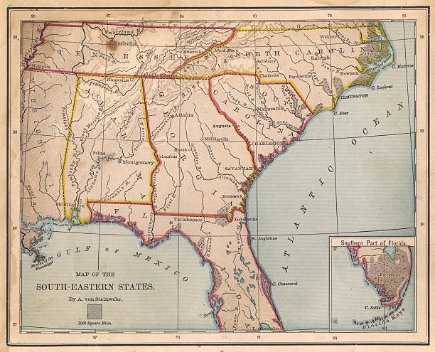 old, color map of south eastern states, from 1800's - tennessee map stock photos and pictures