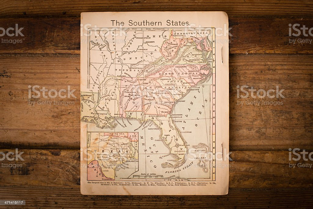 1867, Old, Color Map of Southern (United) States royalty-free stock photo