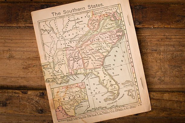 1867, old, color map of southern (united) states - tennessee map stock photos and pictures