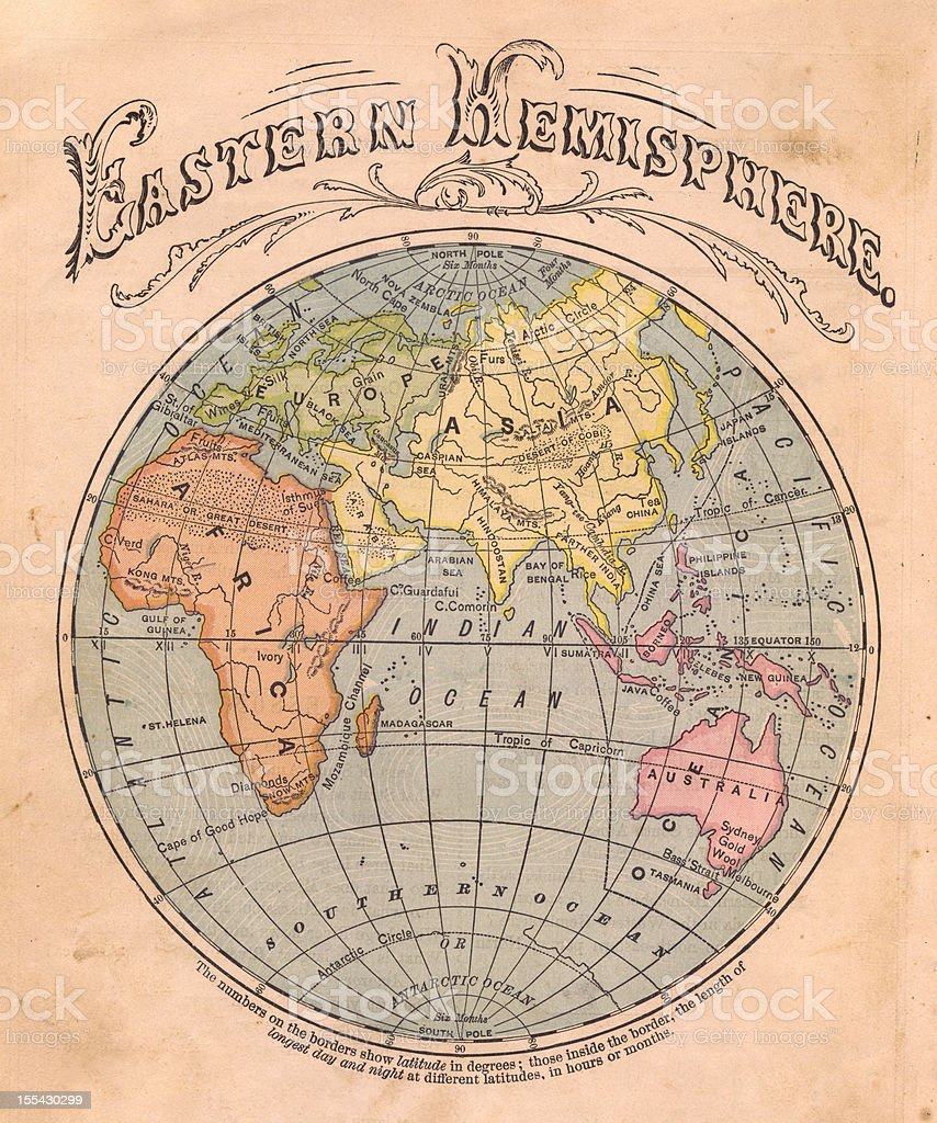 Old, Color Map of the Eastern Hemisphere, From 1867 stock photo