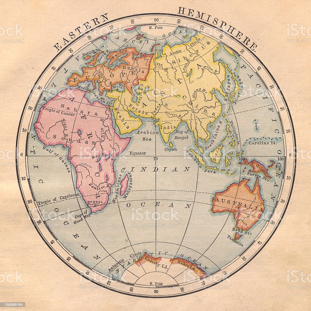 Old, Color Map of the Eastern Hemisphere From 1870 Color image of an old map of the Eastern Hemisphere. 1870 Stock Photo