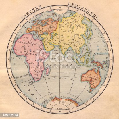 Color image of an old map of the Eastern Hemisphere.